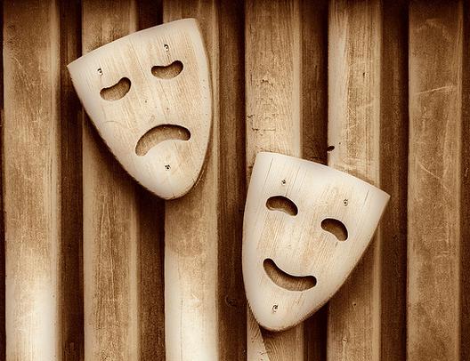 happy and sad wood masks