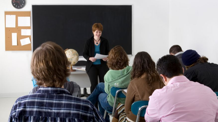 woman standing in front of a class