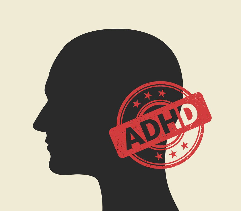 graphic of head and the words ADHD