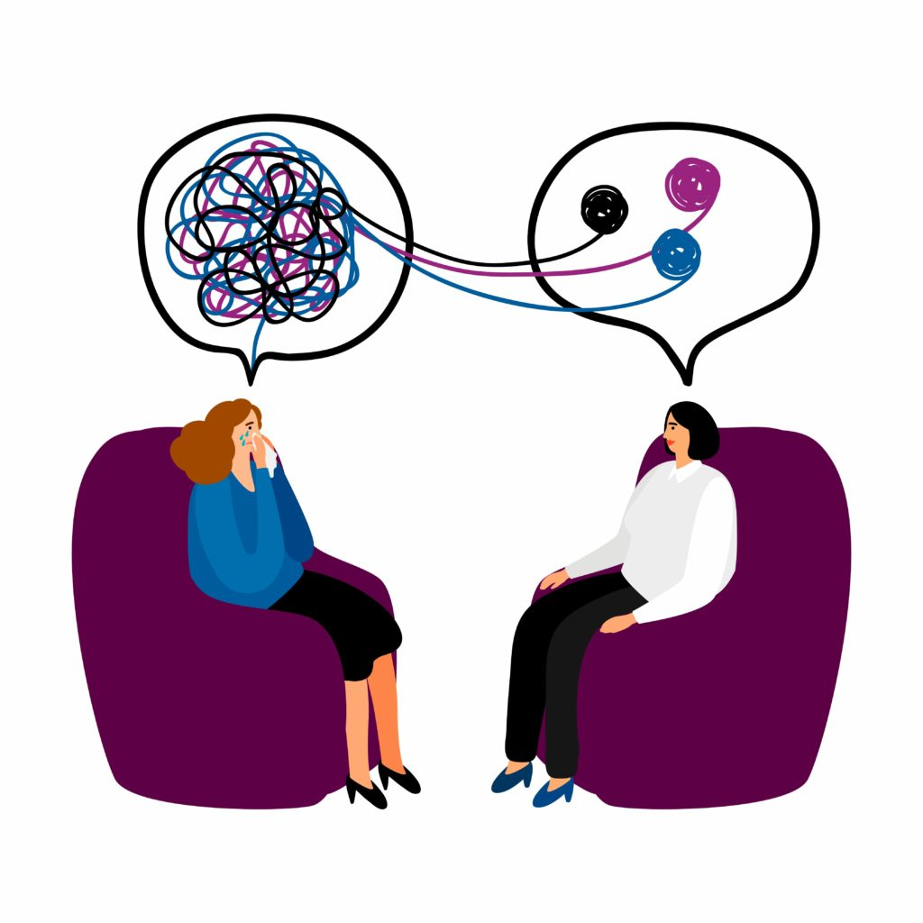Cartoon of a patient with tangled thoughts talking to a therapist who is untangling and organizing the patient's thoughts