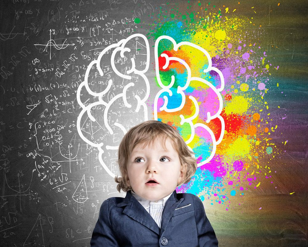 Blonde female toddler against a background with two halves of the brain showing logic and creativity