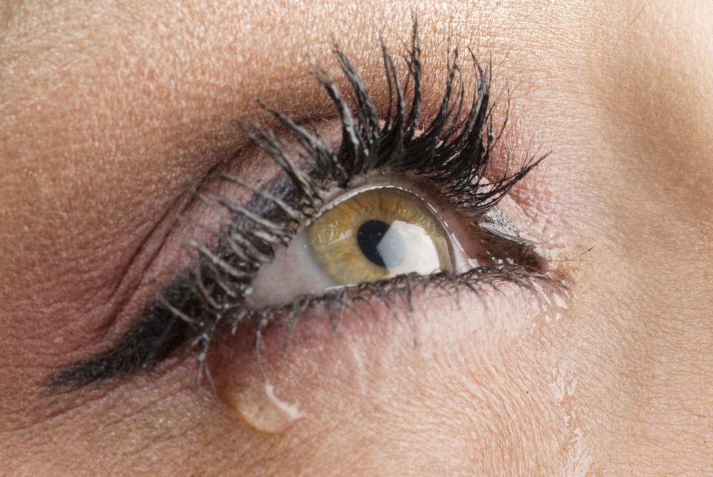 Close up of an eye with a tear