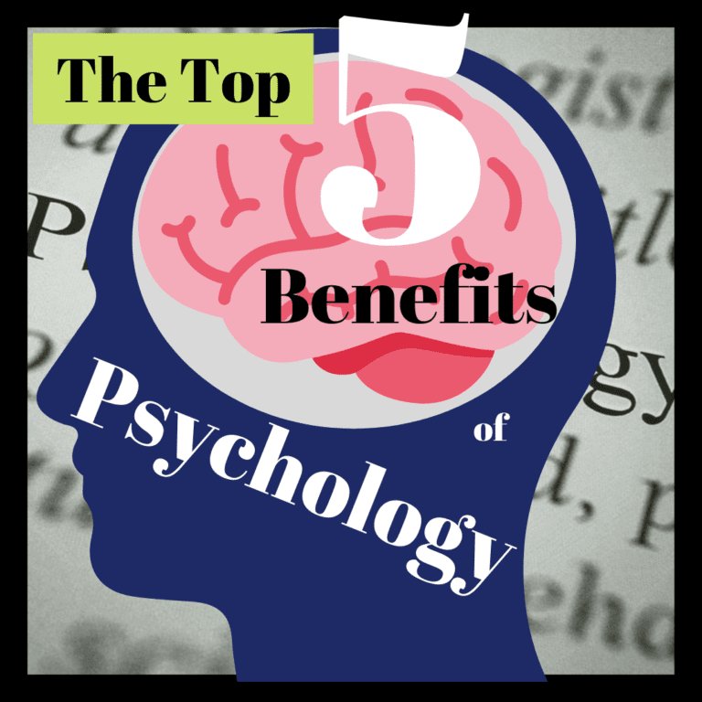 """title banner for """"the top 5 benefits of psychology"""""""