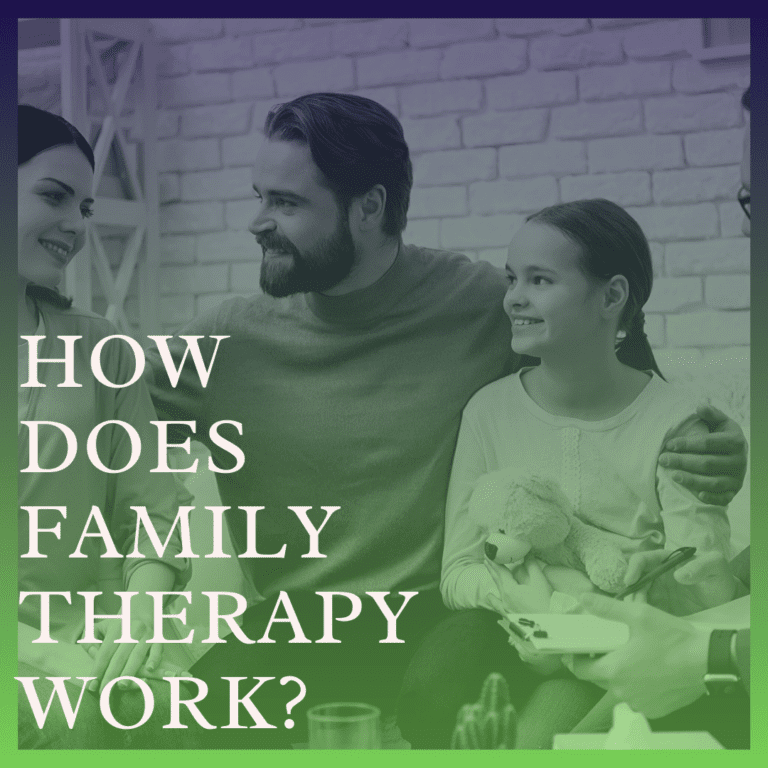 Photo of a family with the words How Does Family Therapy Work_