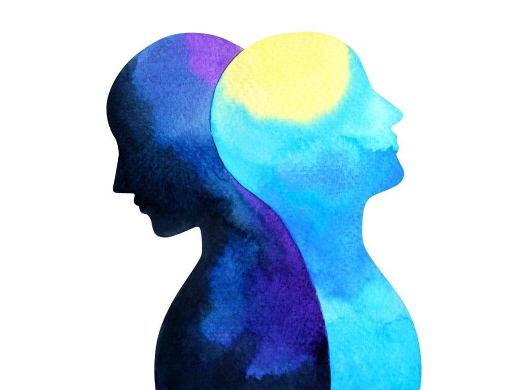 Illustration of two human heads back to back with one representing night and the other day