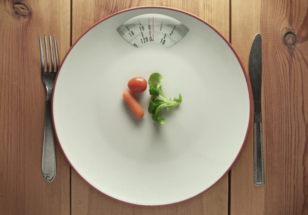 plate with minimal food made to look like a scale
