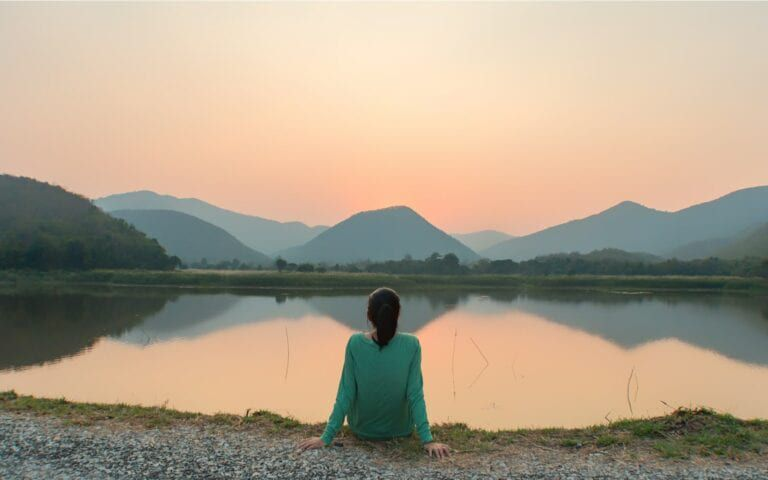 Woman focusing on being mindful