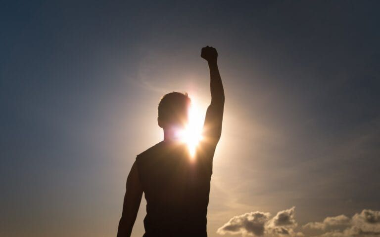 Man looking Victorious